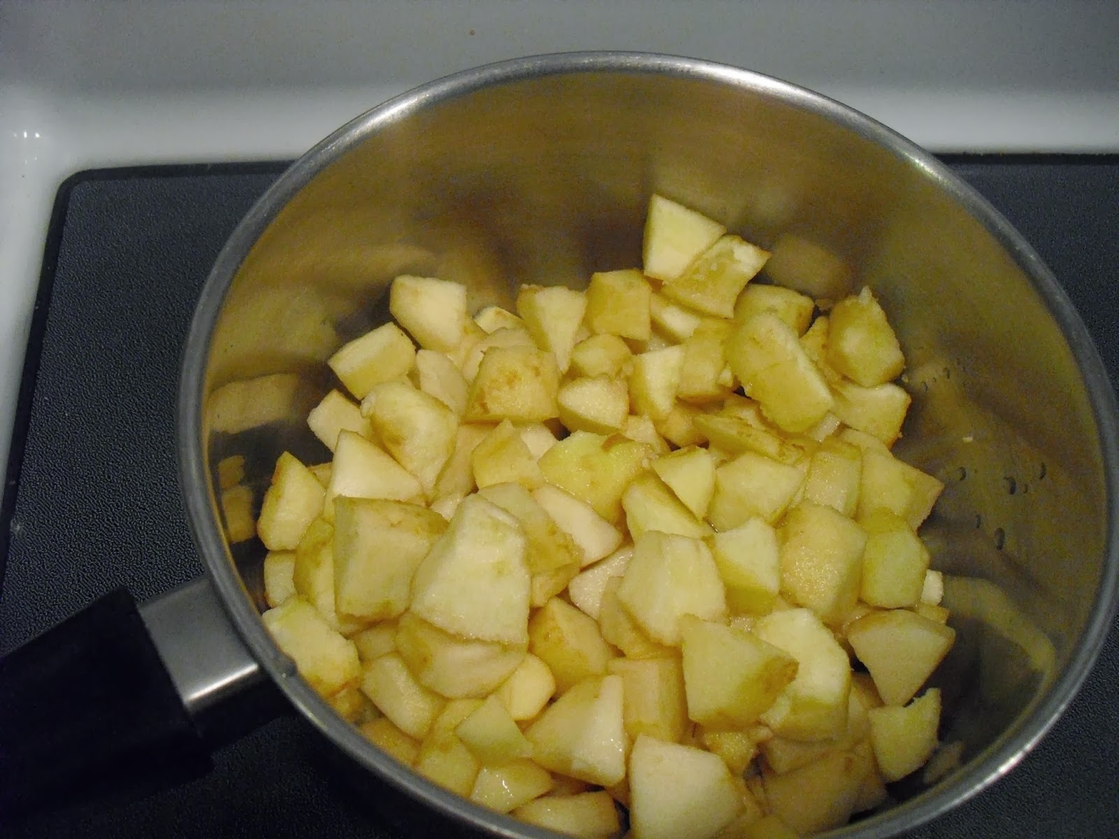 diced apples in pan