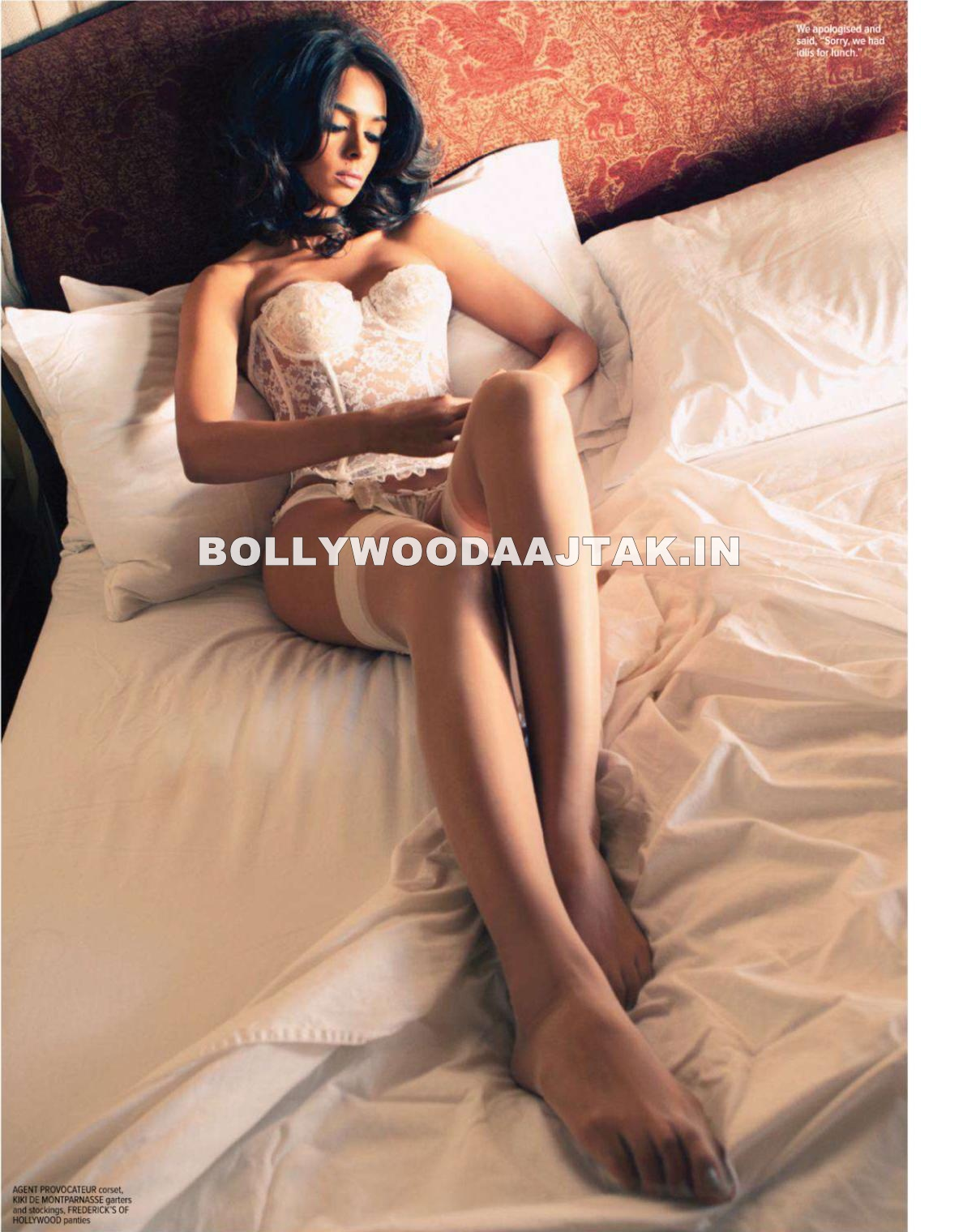 Mallika Sherawat in White Bikini Maxim Scan - Mallika Sherawat MAXIM Magazine Scans - March 2012