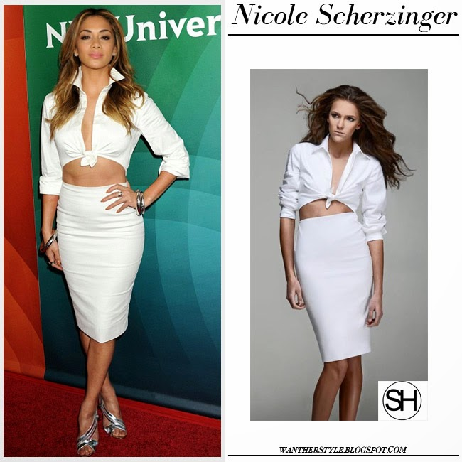 Nicole Scherzinger in white cutout pencil shirt dress sergio hudson and silver sandals tom ford want her style april 2