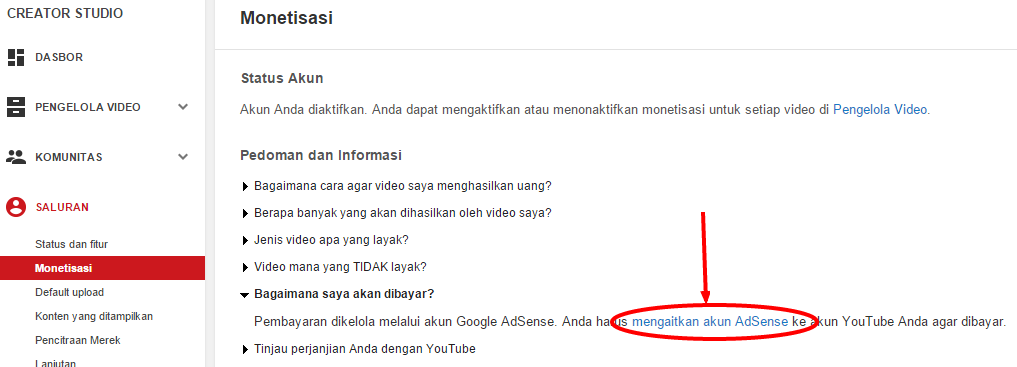 Cara Mengaitkan Akun Adsense dengan Youtube