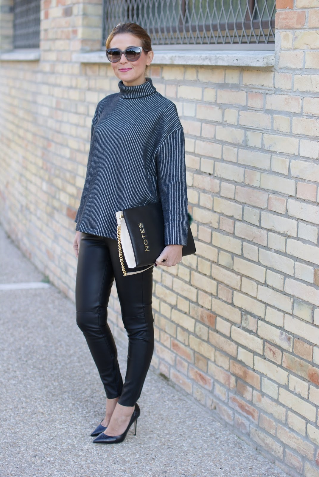 Vogos turtleneck sweater, faux leather pants and black pumps on Fashion and Cookies fashion blog, fashion blogger style