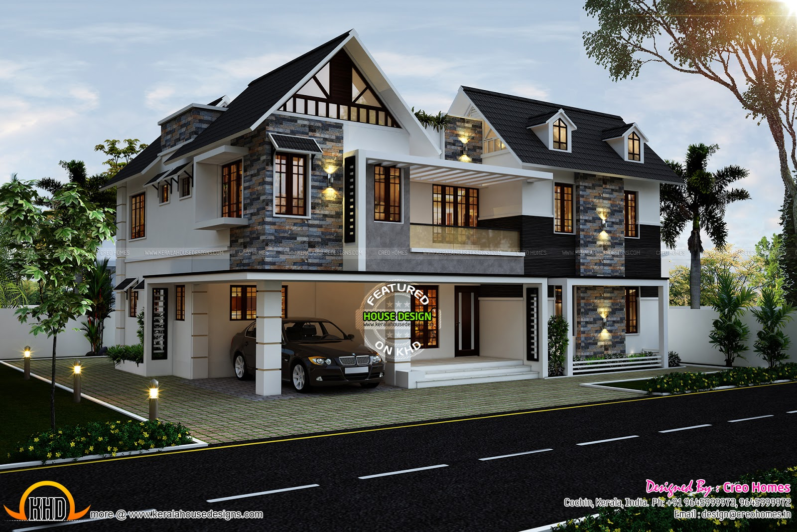 Cute home in kerala kerala home design and floor plans for House plans with photos in kerala style