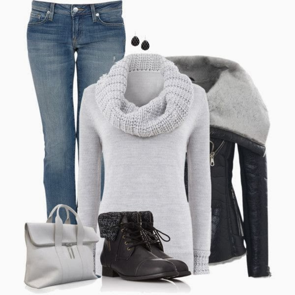 Adorable white high neck sweater, black jacket, jeans, boots and handbag
