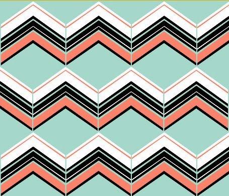 Coral/Mint/B&W Chevron fabric by eSheep Designs