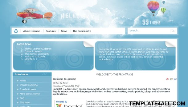 Hello Sky Blue Travel Joomla Template