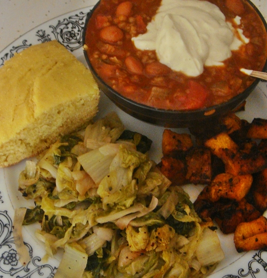 Chili, Roasted Sweet Potatoes, Pan-Fried Cabbage with Apples and ...