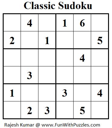 Classic Sudoku (Mini Sudoku Series #32)