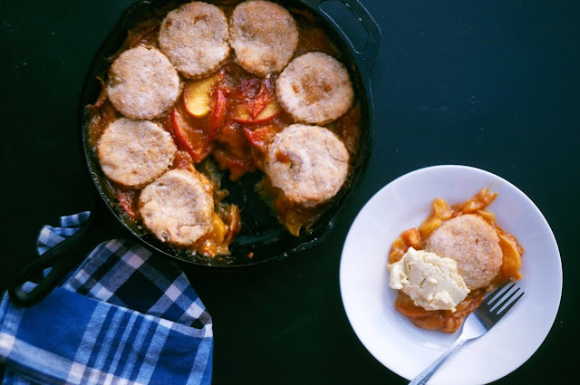 Peach-Sorghum Pandowdy with Cornmeal Biscuits from Ronni Lundy's Sorghum's Savor