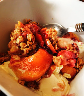 peach and berry crumble on katy's kitchen