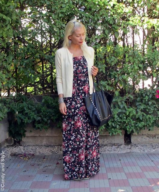 Cardigan+MaxiDress+Wedges+ToteBag+RedLips - Lilli Candy and Style Fashion Blog
