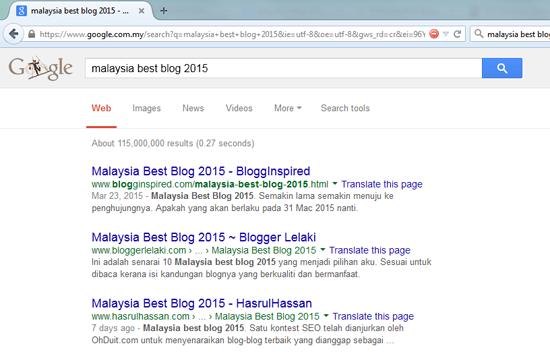 Top 3 Google Malaysia Best Blog 2015