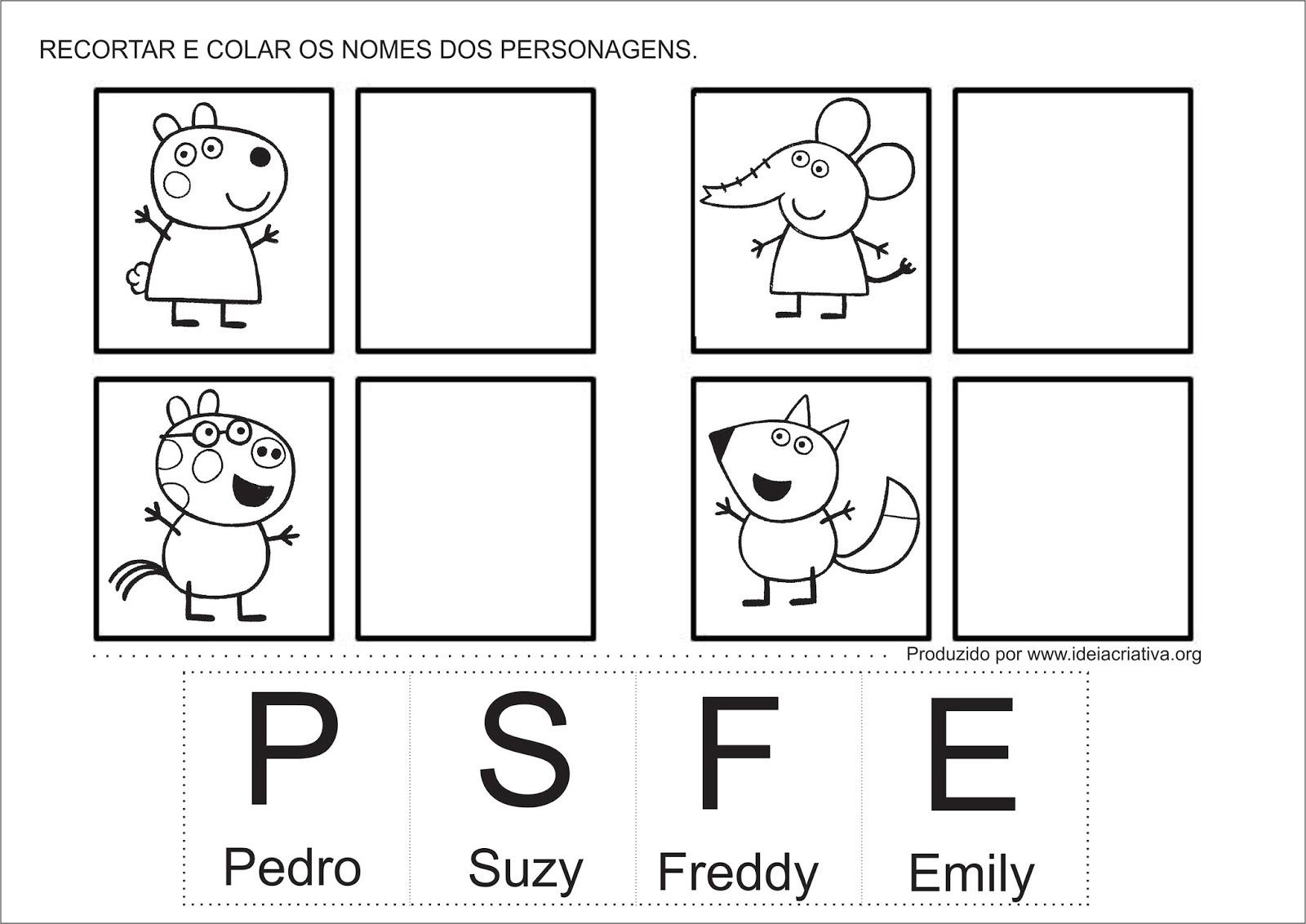 Atividade Personagens Peppa Pig letra Inicial Educação Infantil