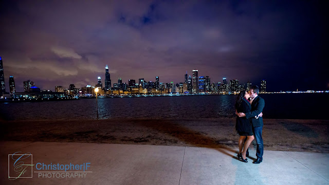 Chicago Engagement Alder Skyline Night