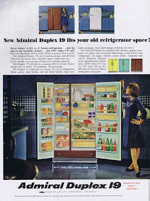 Admiral Duplex Refrigerator from 1964 in a parade of fun colors.