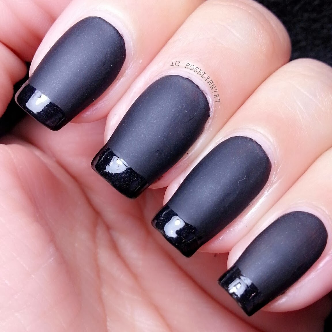Tutorial matte black french tip manicured marvelous tutorial matte black french tip solutioingenieria Images