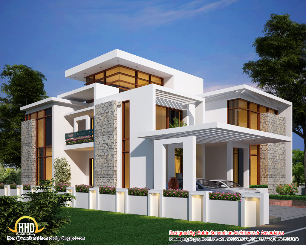 House plans and design contemporary style house plans kerala for Small contemporary house plans in kerala