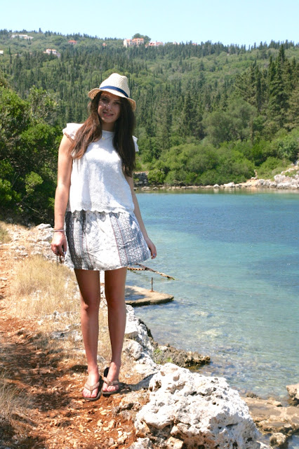 Katherine Penney Chic Holiday Summer Kefalonia 2015 Island Pretty Natural Sunny Beautiful Sea Blue Fashion Boho Style Outfit