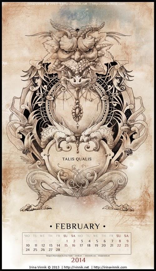 02-February-Irina-Vinnik-2014-Bestiary-Calendar-Design-www-designstack-co