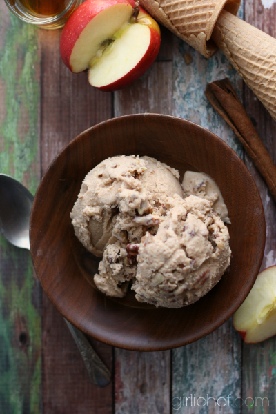 Apple Butter Rummy Pecan Ice Cream | www.girlichef.com