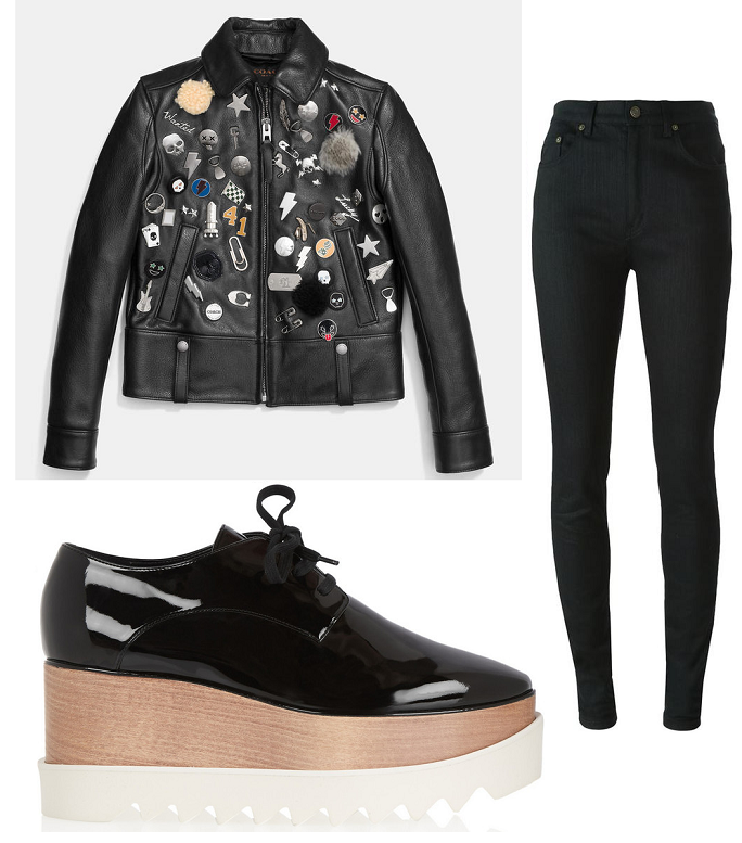 embellished leather jacket saint laurent jeans platform brogues