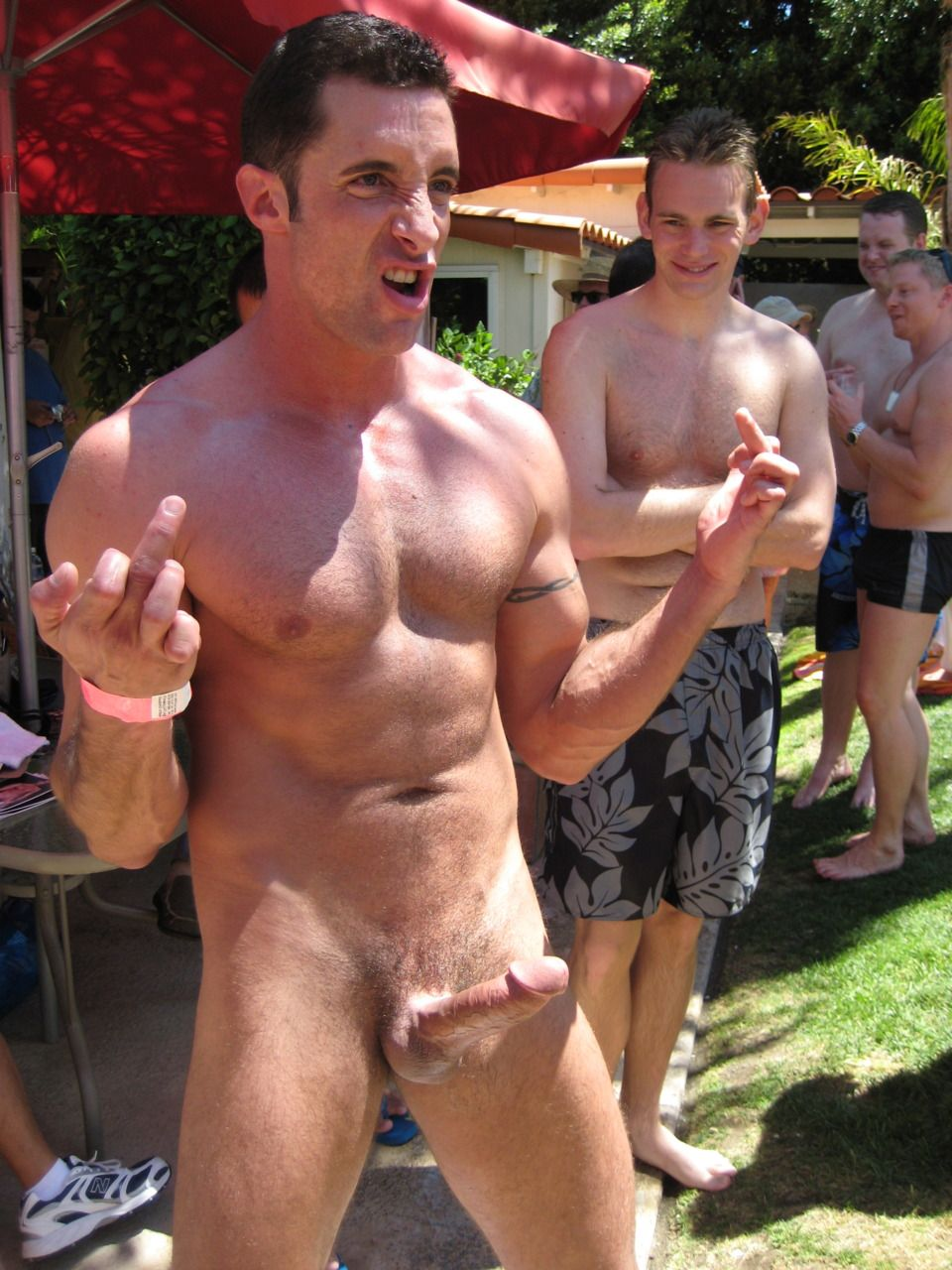 Nudist boy gets erection hot!