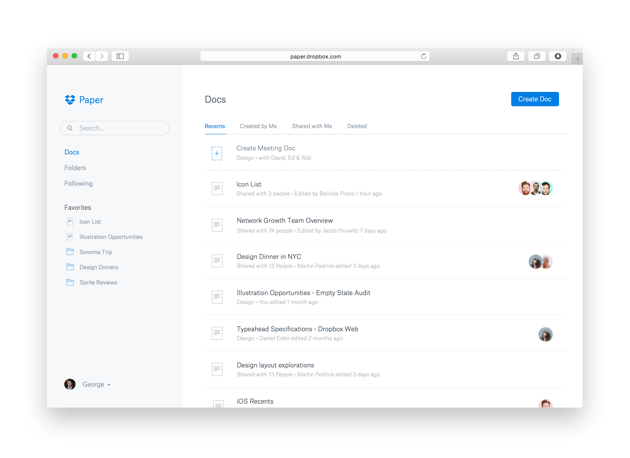 Paper is Dropbox Team Collaboration Tools