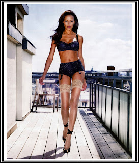 Selita Ebanks black lingerie stockings ebony heels Victoria's Secret Sports Illustrated Paris HD HQ pics