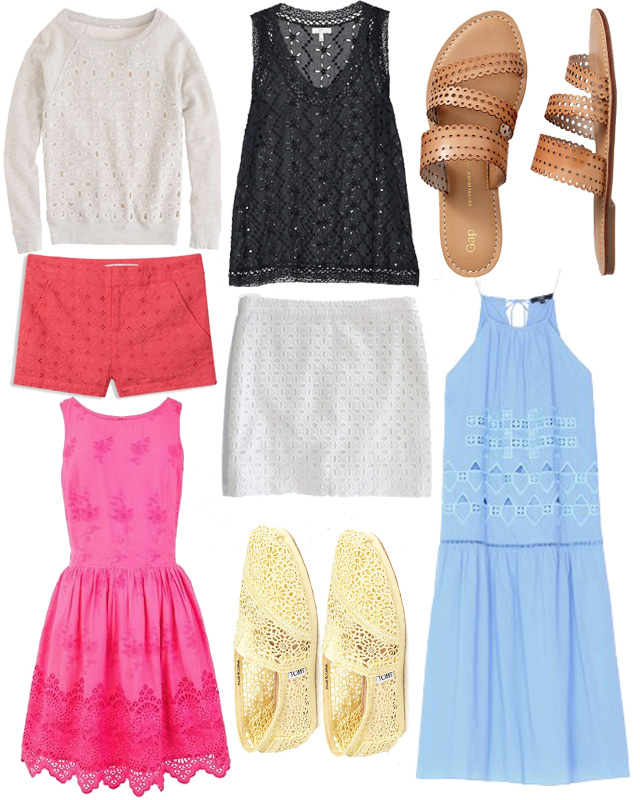 Eyelet fashion from Old Navy, Madewell, J.Crew etc
