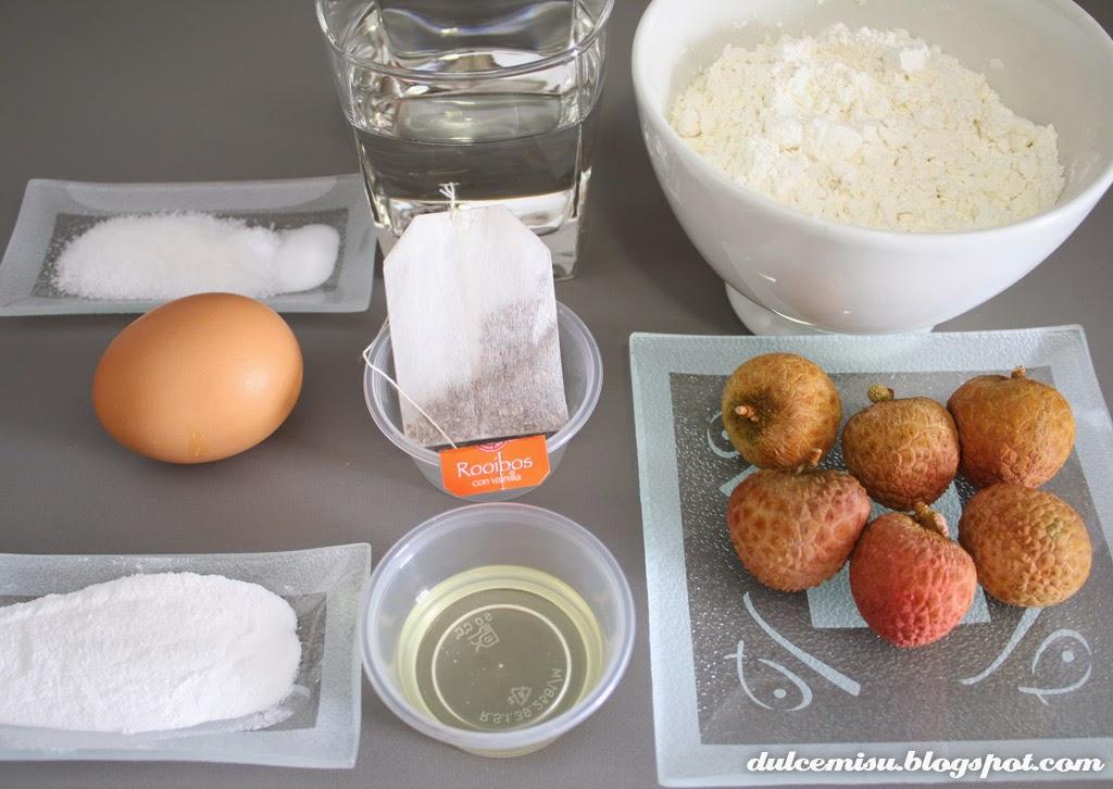 Cupcake, té rooibos, vainilla, lichis, nata, dulcemisu, ingredientes