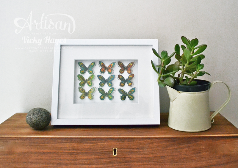 i used the smaller butterfly from watercolor wings to create this artwork forget two step stamping you can layer these babies up in five steps - Artisan Home Decor