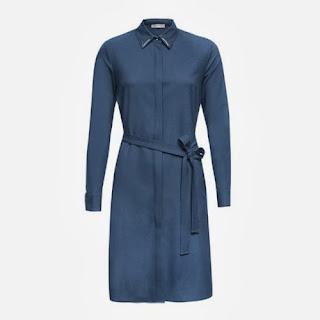 kemerli gömlek elbise mavi renk