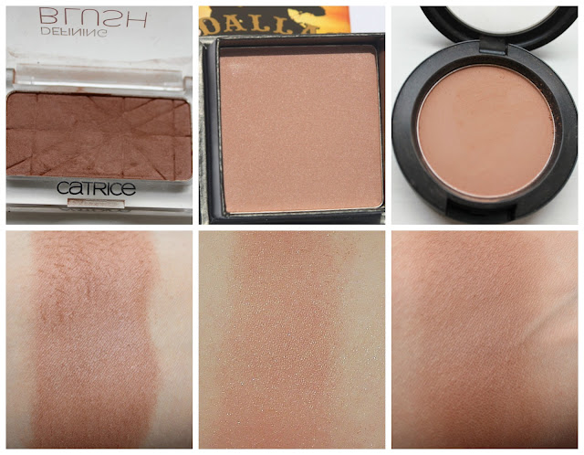 Catrice Defining Blush in (010) Toffee Fairy, Benefit Dallas, MAC Blush in Harmony