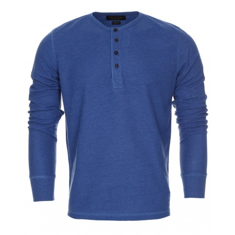 The Long Sleeve Waffle Grandad Top on Blue Inc