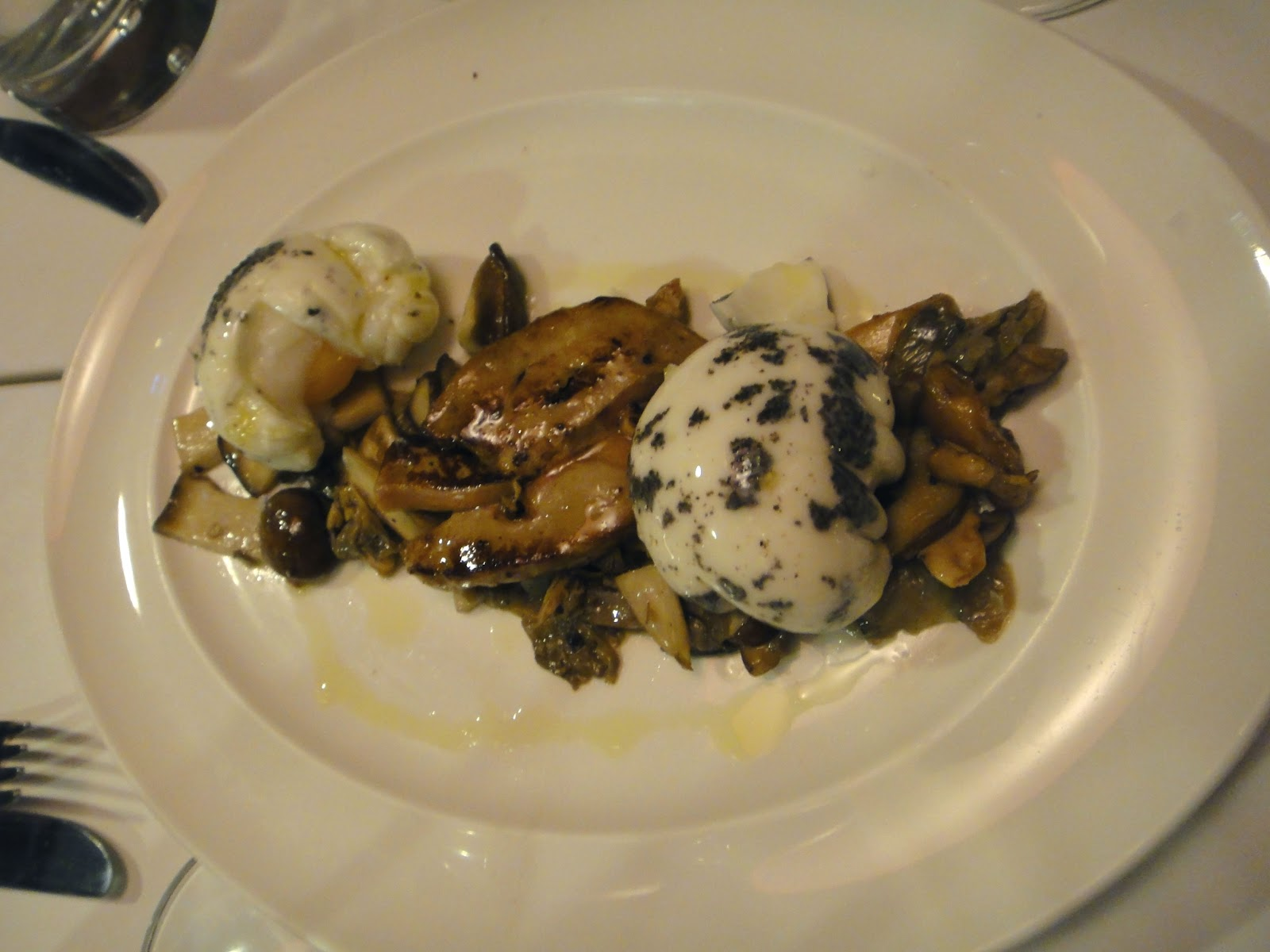 Truffle Eggs with Foie Gras and Mushrooms