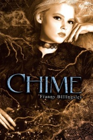 Cover of Chime, featuring a white girl with very pale blonde hair. She reclines in a bed of branches that seem to be enveloping her.