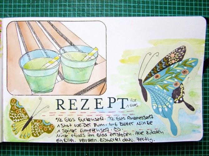 Mixed Media Montag Art Journal Aquarell Tutorial von Wiebke Hahn für www.danipeuss.de