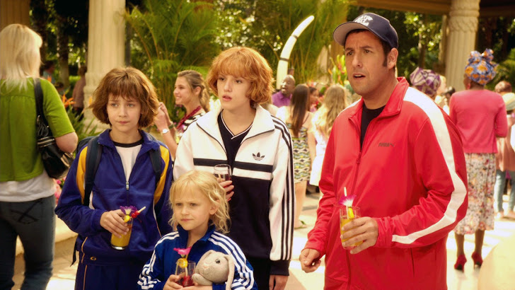emma fuhrmann as espn, bella thorne as hilary, alyvia alyn lind as lou and adam sandler as jim
