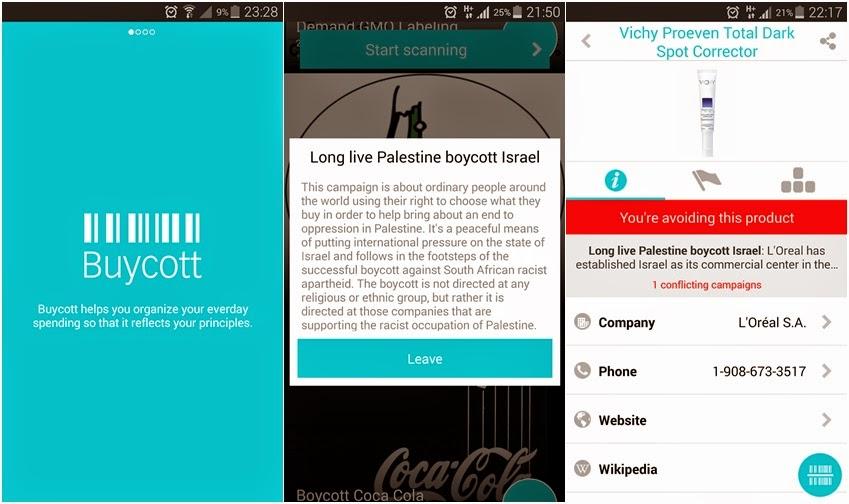 Boikot barangan Israel dengan Aplikasi Buycott
