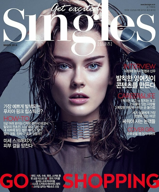 'Royal Black' Monika Jac Jagaciak is the cover star of Singles Korea March 2014 edition