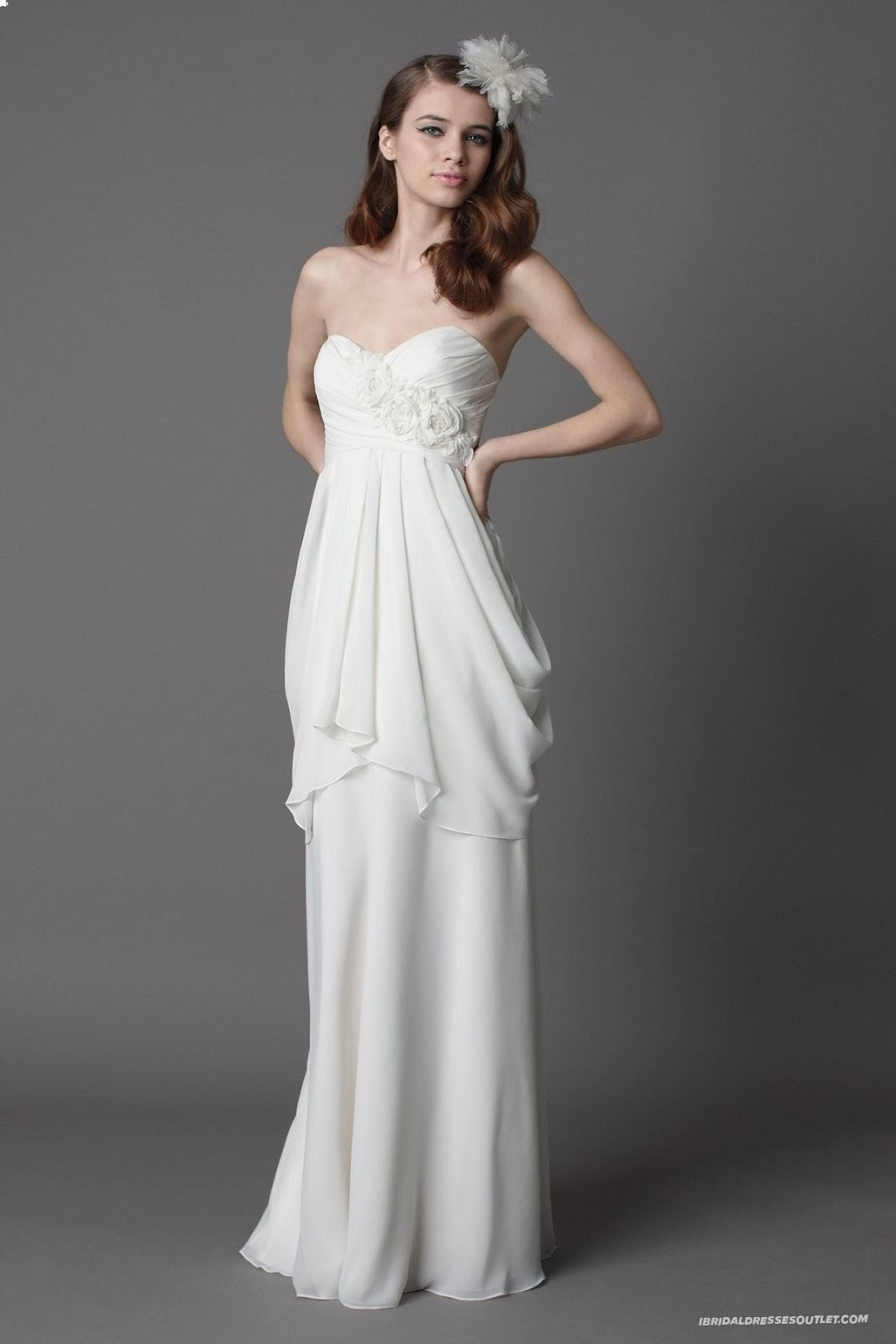 Draped+Casual+Wedding+Dress+for+Outdoor+Weddings - Informal Wedding Dresses