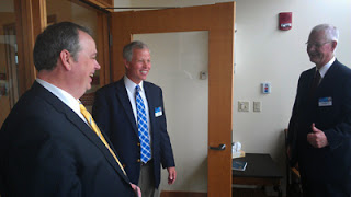 Chancellor James Schmidt with Mayo's John Dickey and Randy Linton