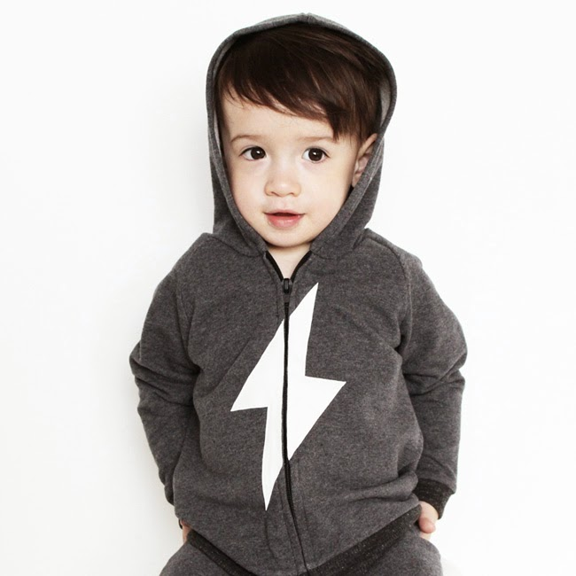 Original kids' hoodie with lightning bolt over the zipper by Moon Fries