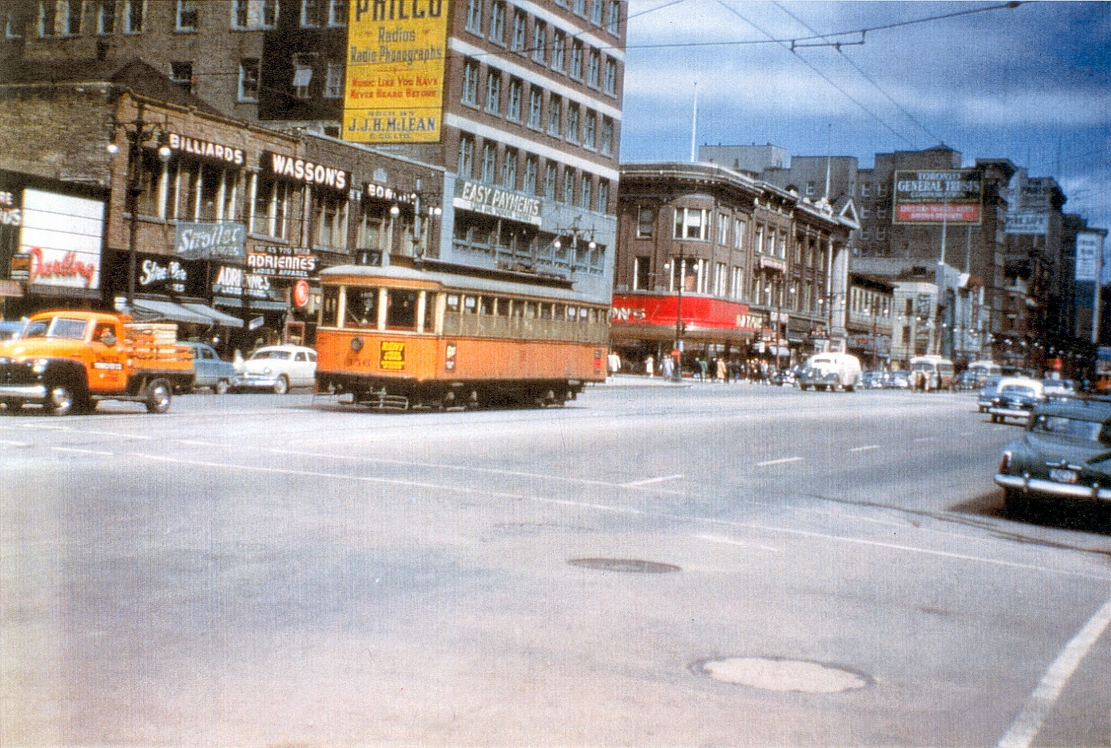 Electric streetcar on Portage Avenue