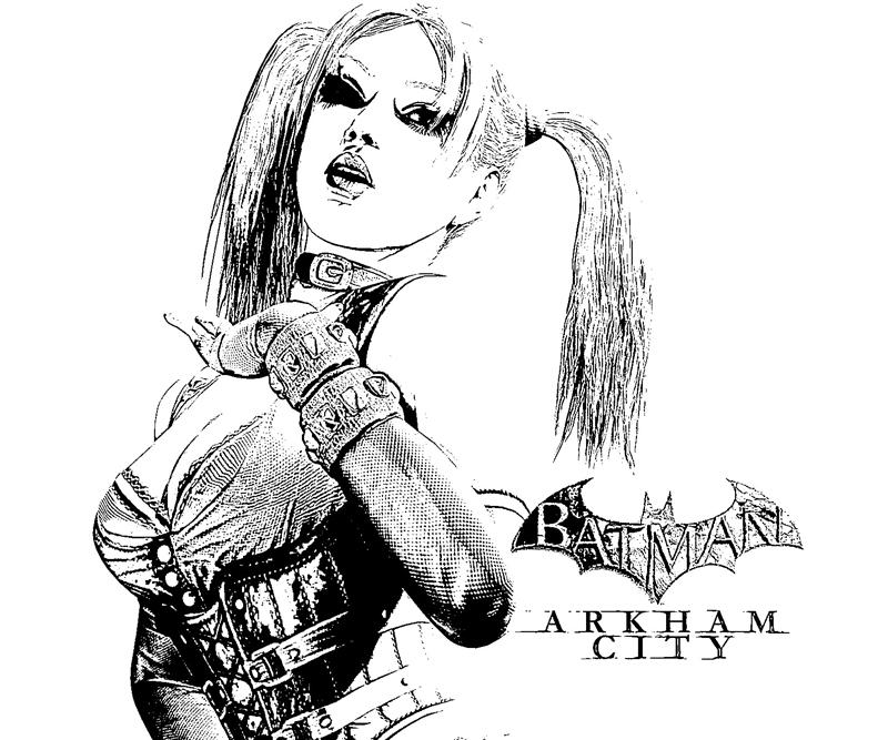 batman arkham city harley quinn sketch coloring pages