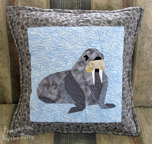 Walrus pillow on the couch