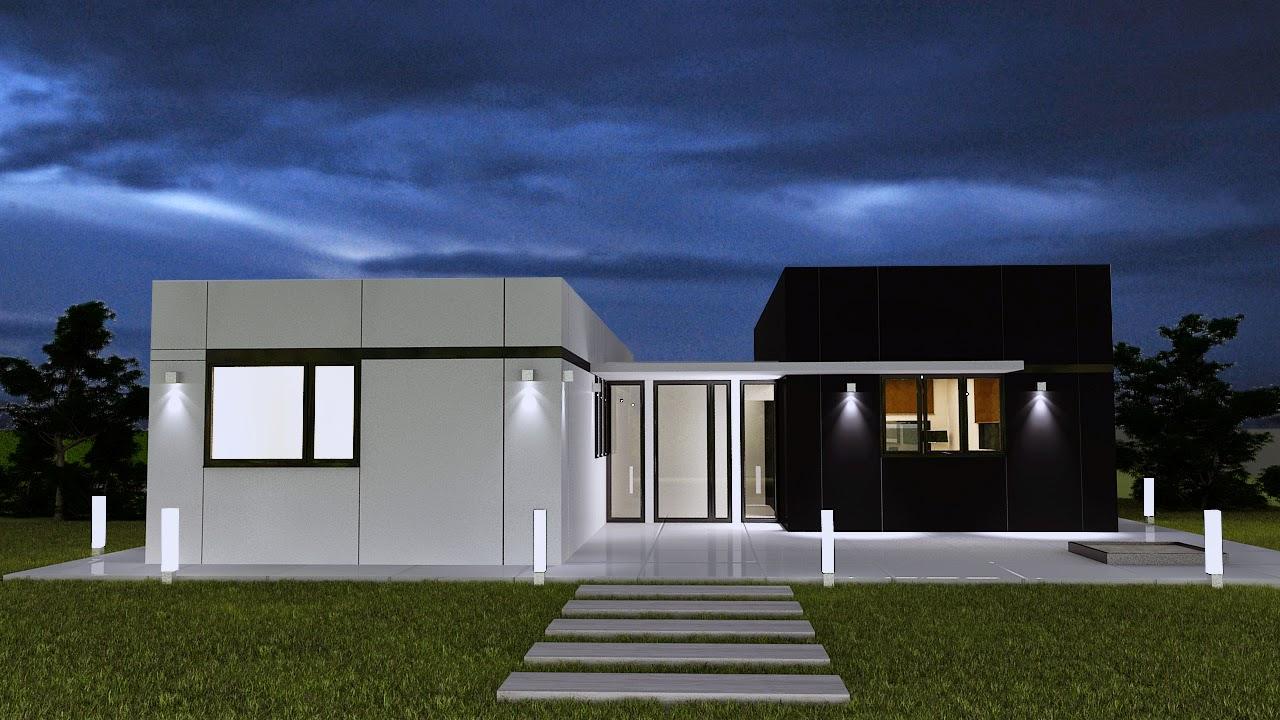 Vivienda modular Resan vista nocturna