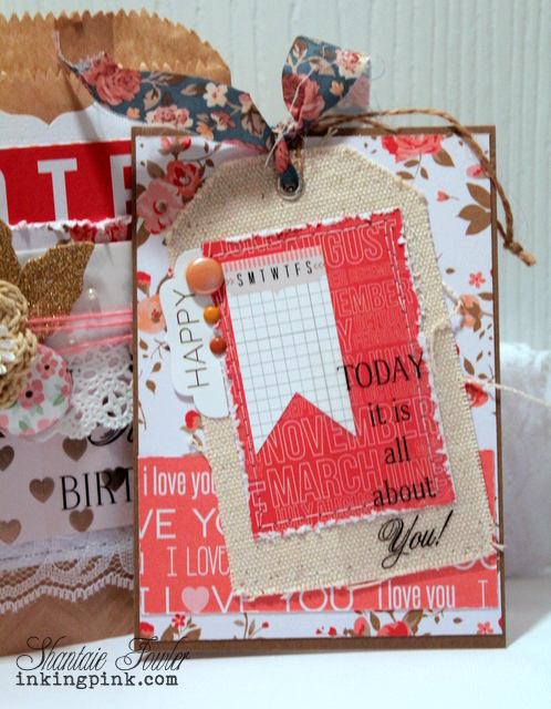 SRM Stickers Blog - Canvas Tag & Chevron Bag by Shantaie - #giftbag #embossedkraftbag #kraft #canvas #doily #twine #floralribbon #lace #fancysentiments #stickers #card #birthday #DIY