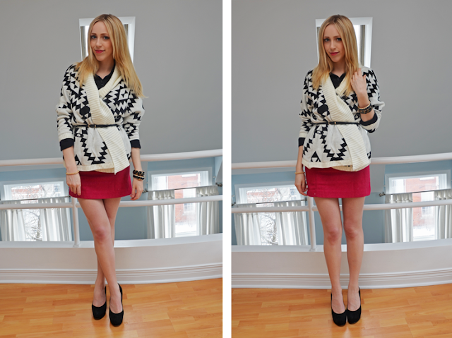 chunky aztec print sweater and belt casual chic sweater us trendy