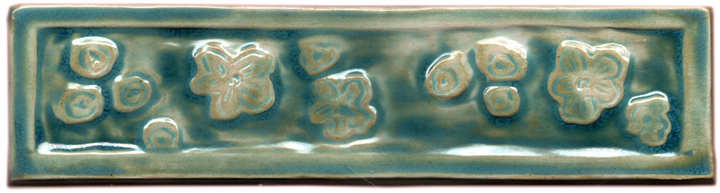 japanese cherry blossom liner border tile hand made jade green
