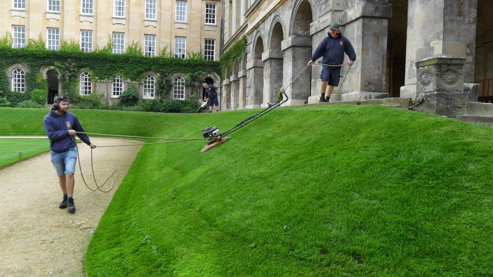 Worcester College Gardeners Mowing The Banks For The Last